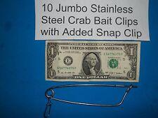 10 Crabbing Crab Trap Jumbo Bait Clips Stainless Steel Net Line Pin CrabHoudini