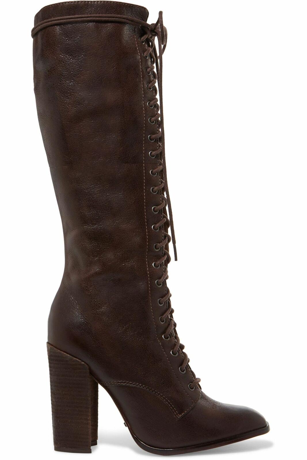 Schutz Cola Cola Cola Brown Leather Lace Up Knee High Block Heel Combat Dress Boots 1c88b4