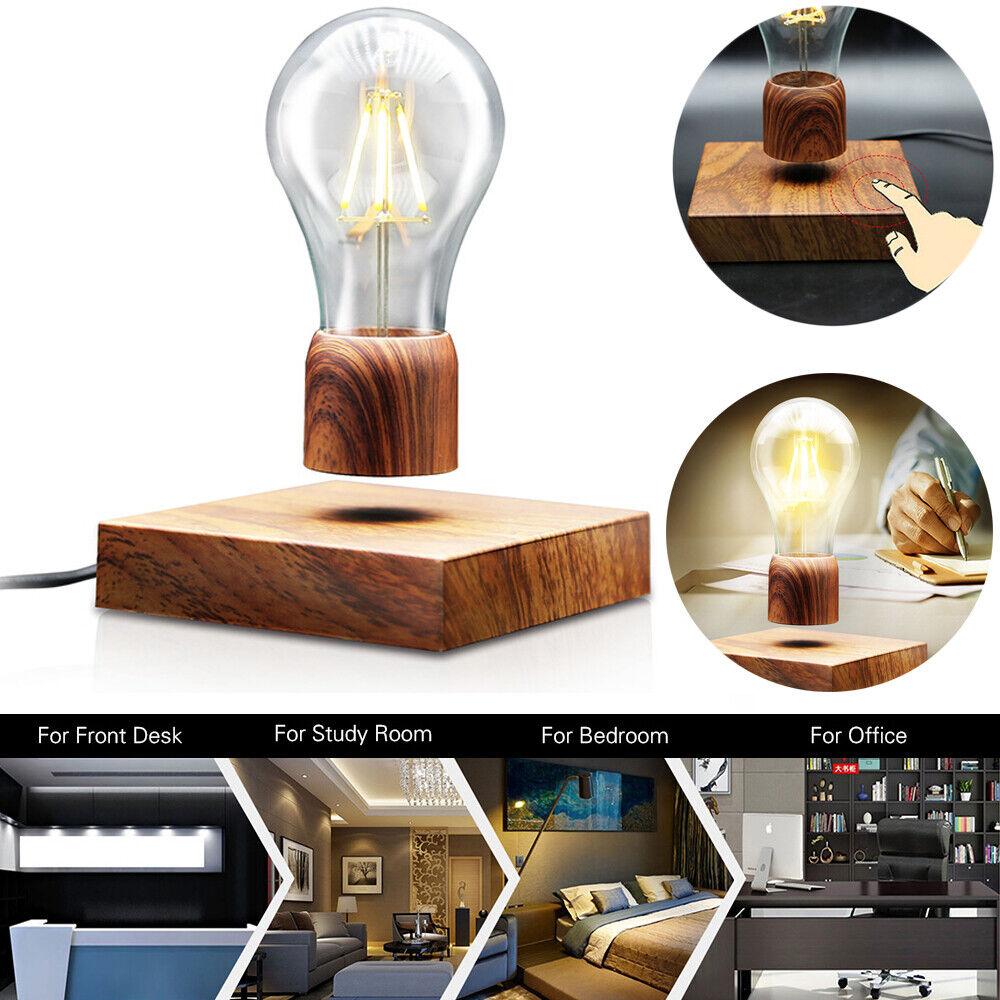Magnetische Floating Schwimmende Lampe LED Glühbirne Holz Tischleuchte Bulb+Base