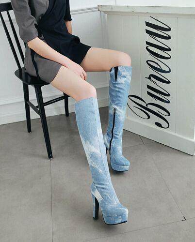 Women/'s Denim Zip-Up Knee High Heel Boots Platform Round Toe Big Plus Size Shoes