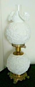 White-Milk-Glass-Embossed-3-Way-Light-GWTW-Parlor-Hurricane-Table-Lamp-24-034-H