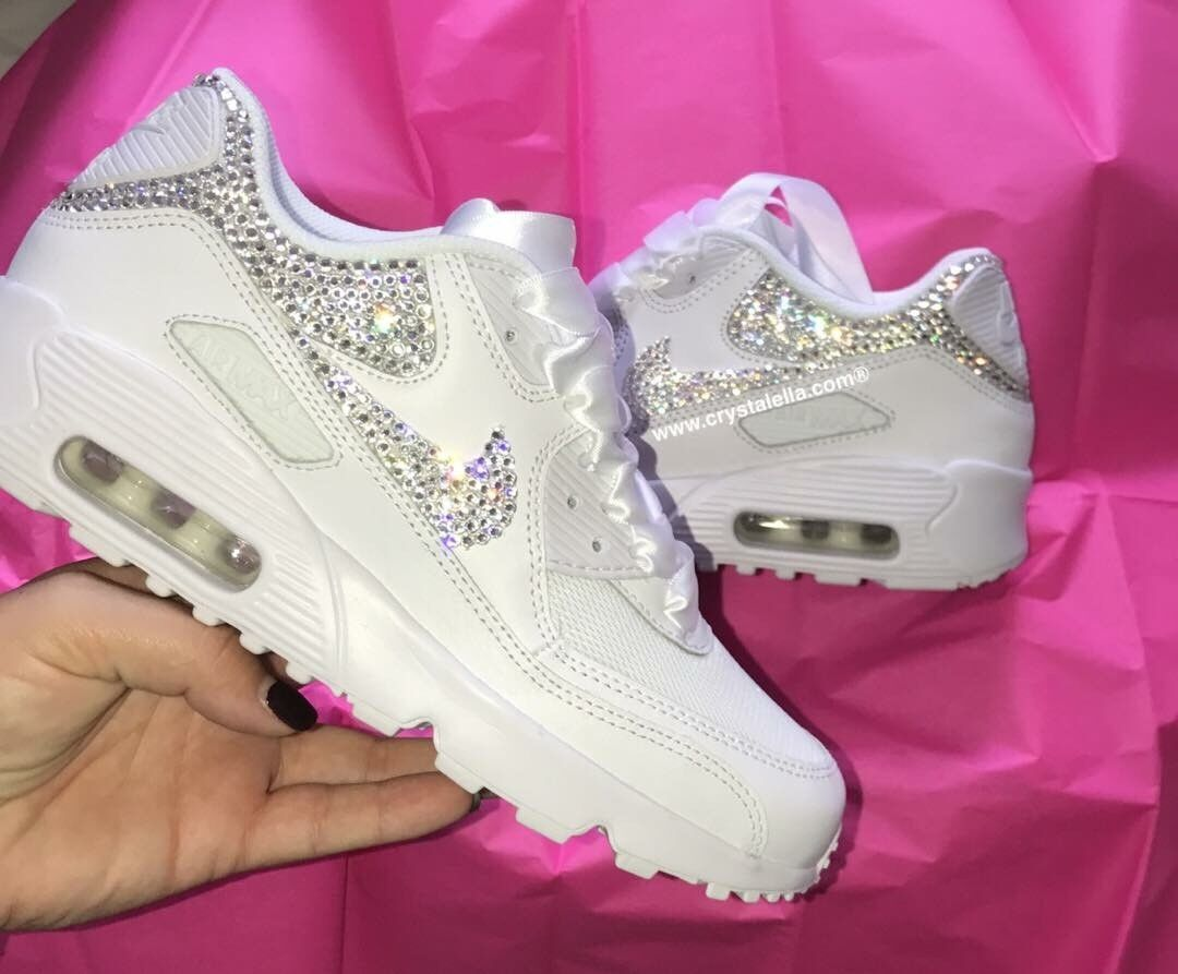 Crystal Nike in White Nike Air Max 90 Swarovski Crystal Backs & X2 Ticks Swoosh.