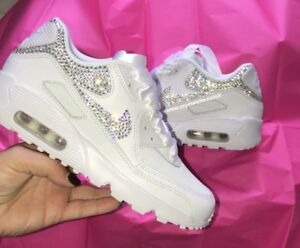 Crystal Nike in White Nike Air Max 90 Swarovski Crystal Backs   X2 ... cfc2f2d4ed