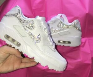 Crystal Nike in Bianco Nike Air Max 90 Swarovski Crystal Tende X2/Swoosh Tick.