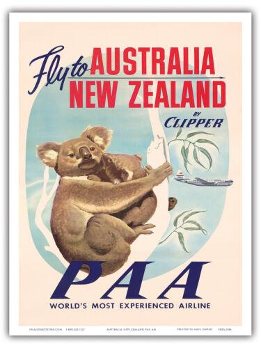Australia New Zealand Koala Bears Vintage Airline Travel Art Poster Print