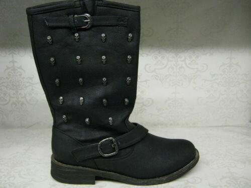 F50037 Black PU Pull On Casual Mid Calf Boots With Skull Studs Spot On