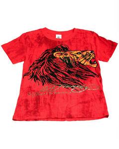 Ed-Hardy-Boys-Bright-Red-Cotton-Marble-Tee-Shirt-Lion-Motif-Short-Sleeve
