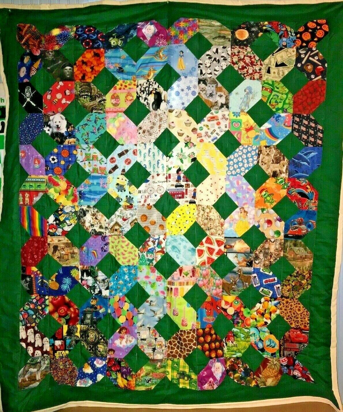 66x74 Xs Os I-Spy patchwork quilt Educational Learning Game New Handmade