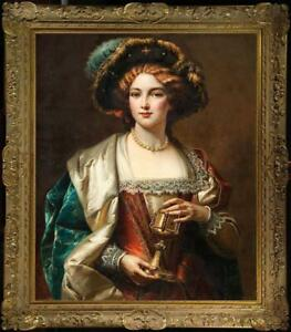 Old-Master-Art-Antique-Oil-Painting-Portrait-noblewoman-girl-on-canvas-30-034-x40-034