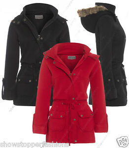 New Womens Faux Fur Hood Parka Ladies Jacket Coat Plus