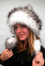 Damenmütze Tatramütze Bommelmütze Kunstfell Weißtöne Strickmützen Wintermützen