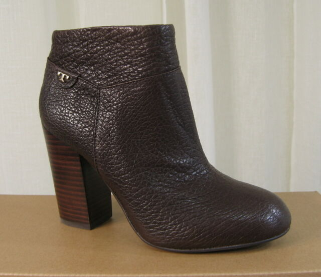 346226b33cc2 NEW TORY BURCH Fulton 100MM Dark Brown Leather Zip Bootie Ankle Boot Heel  US 8.5