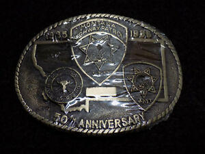 1985-Montana-Highway-Patrol-50th-Anniversary-Solid-Brass-Belt-Buckle-Sealed