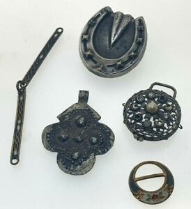 Button-Stud-Three-Pendants-and-Buckle-Bundle-Metal-Steel-Iron-Spares-Repairs