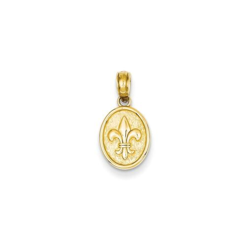 14k Yellow Gold Polished Small Fleur De Lis in Oval Pendant 13x9mm 0.71gr
