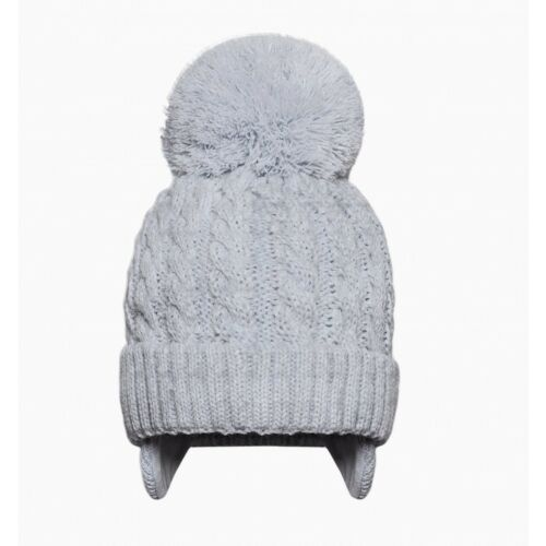 Baby Boys Girls Traditional Grey Cable Stitch Warm Lined Pom Pom Hat Bobble Hat