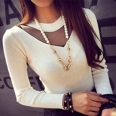 Fashion Womens Ladies Lace Tops Long Sleeve Knitted Casual Blouse T-shirt Top
