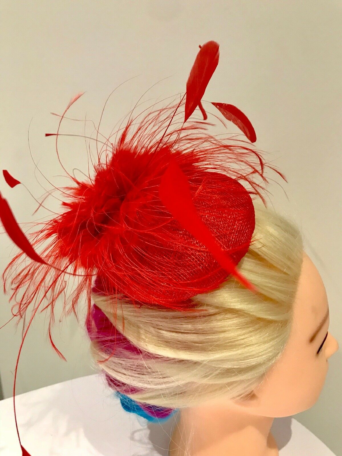 High end quality-Red Button Pillbox Facinator Adorned With Full Feather Mix