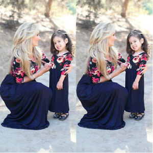 Mother-Daughter-Matching-Clothes-Floral-Mom-Kids-Parent-Maxi-Long-Dress-Outfits