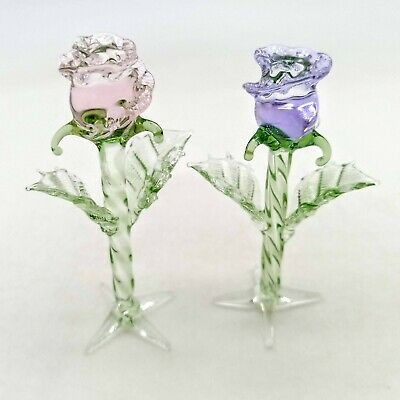 "Blown Glass /""Murano/"" Figurine Flower BLUE Rose Standing"