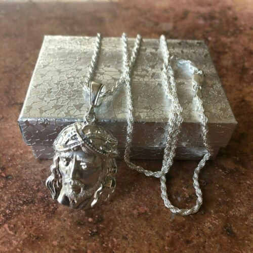 925 Sterling silver Jesus big Pendant  24;Long  chain rope Necklace mens womens