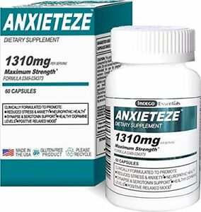 Details about ANXIETEZE™ -Ease Stress & Anxiety- 60ct Capsules - MAXIMUM  STRENGTH FORMULA