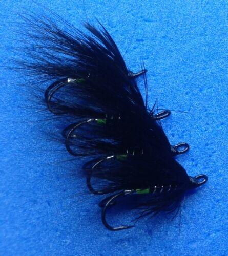 4 qualité taille 10 double black bear green tag saumon mer truite saumon mouche