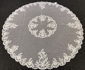 """72x72/"""" Round Embroidery Handmade Beaded Pearl Sheer Tablecloth 2 Layers Napkins"""