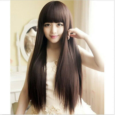 New Fashion Style Womens Girls Cosplay Party Long Straight Hair Wigs Full Wigs