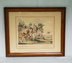 Vintage-034-Batchelors-Hall-Plate-1-034-Framed-Matted-Fox-Hunting-Horse-Print