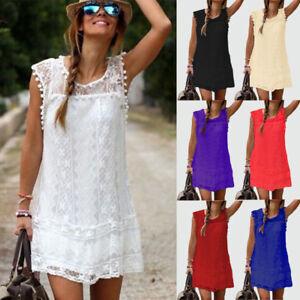 Boho-Womens-Plus-Size-Summer-Lace-Beach-Wear-Sundress-Ladies-Cover-UP-Mini-Dress