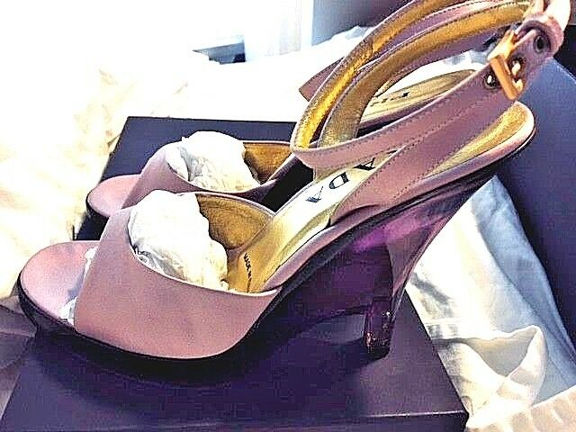 PRADA Lilac Purple Mauve Satin LUCITE WEDGES Shoes ANKLE SRAP  SANDALS 39/9