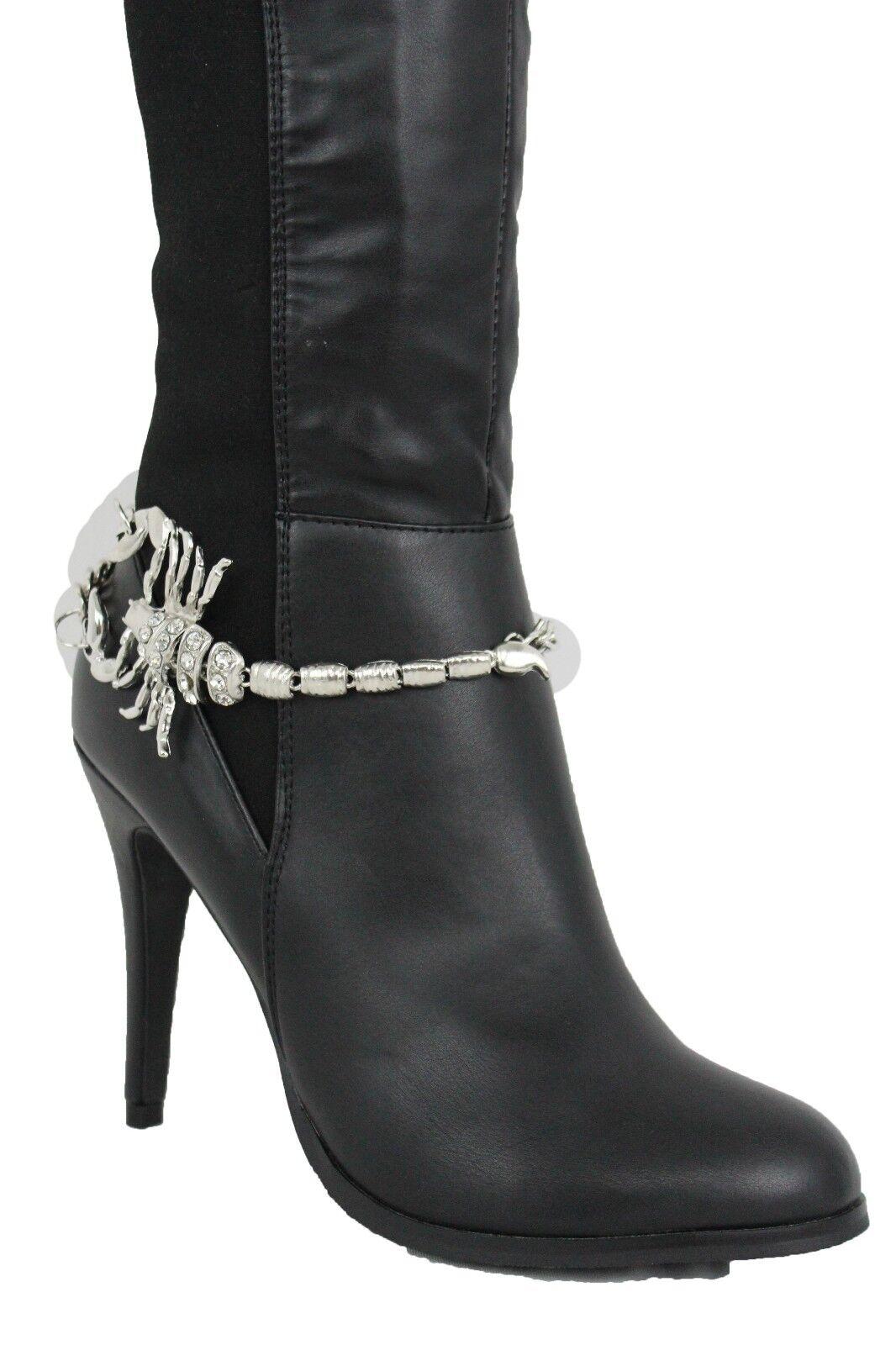 Women Boot Silver Metal Chain Bracelet Shoe Anklet Bling Scorpion Charm Jewelry