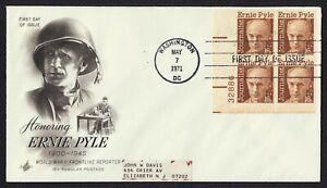 #1398 16c Ernie Pyle-Plate Bloque, Arte Artesanía FDC Cualquier 5=