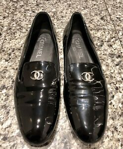 CHANEL CC Black Patent Leather Loafers