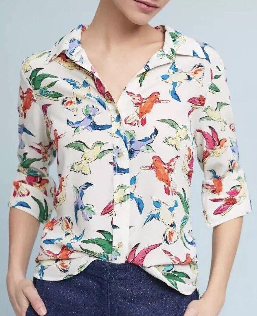 Maeve By Anthropologie Woherren 4 Potala Buttondown Bird Shirt New In Package
