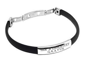 ID-Kautschuk-Armband-mit-Edelstahlplatte-Mit-GRAVUR-Wunschtext-Wunschname-Unisex