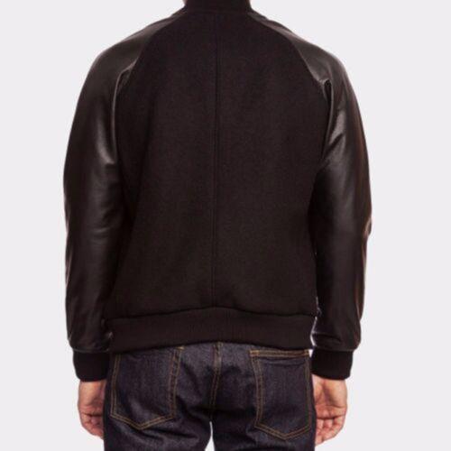 Jackets ritssluiting echte College Varsity lederen Wool Letterman Black Bomber mouwen 4FXqSwH