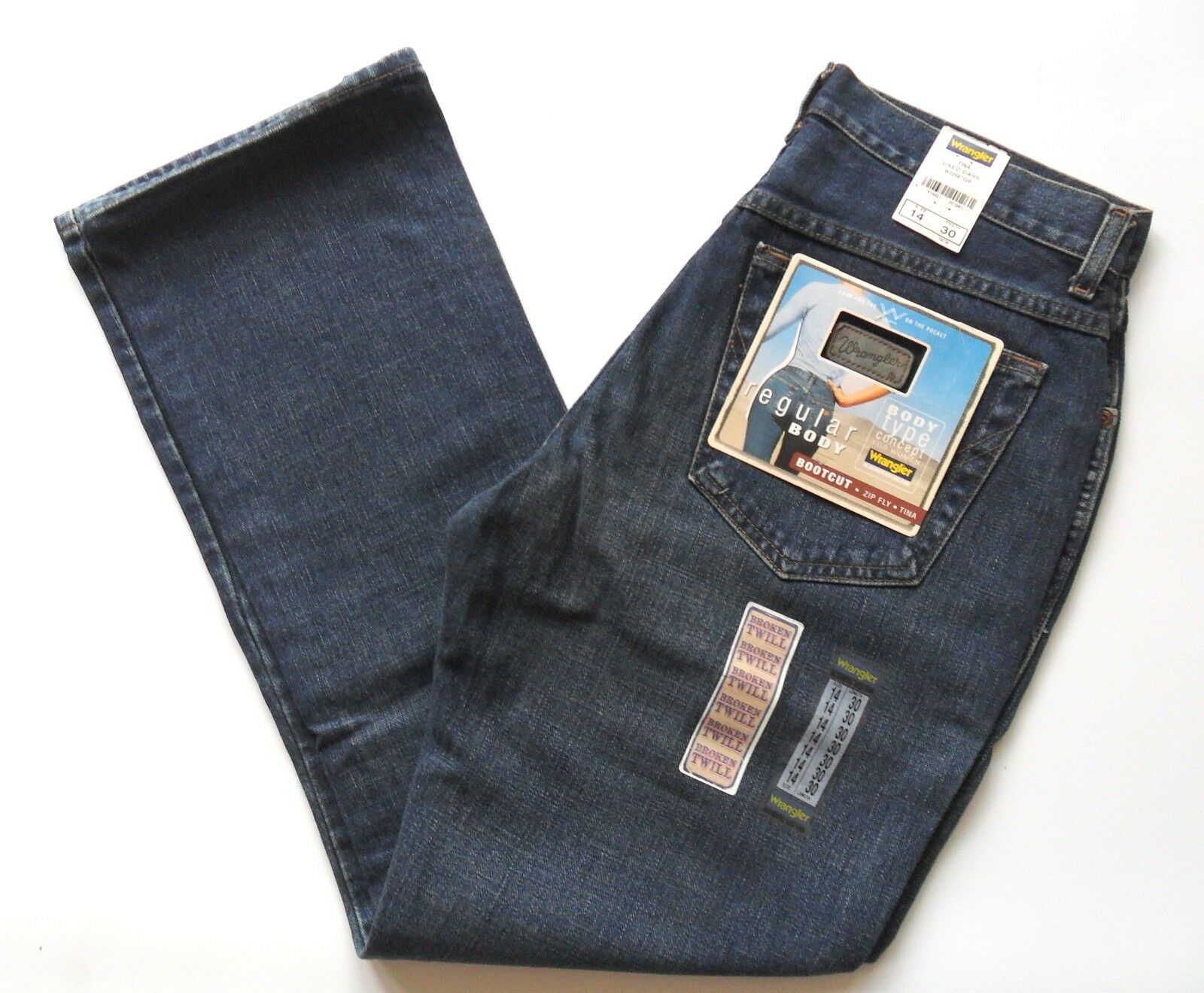 WRANGLER Jeans Women Girls Vintage Boot cut Denim Regular Body Dark Wash 8 - 14