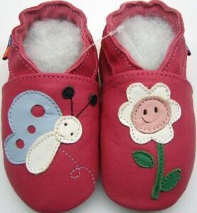 Botones Fucsia 4-5 Niño minishoezoo Suave Suela Zapatos de Cuero
