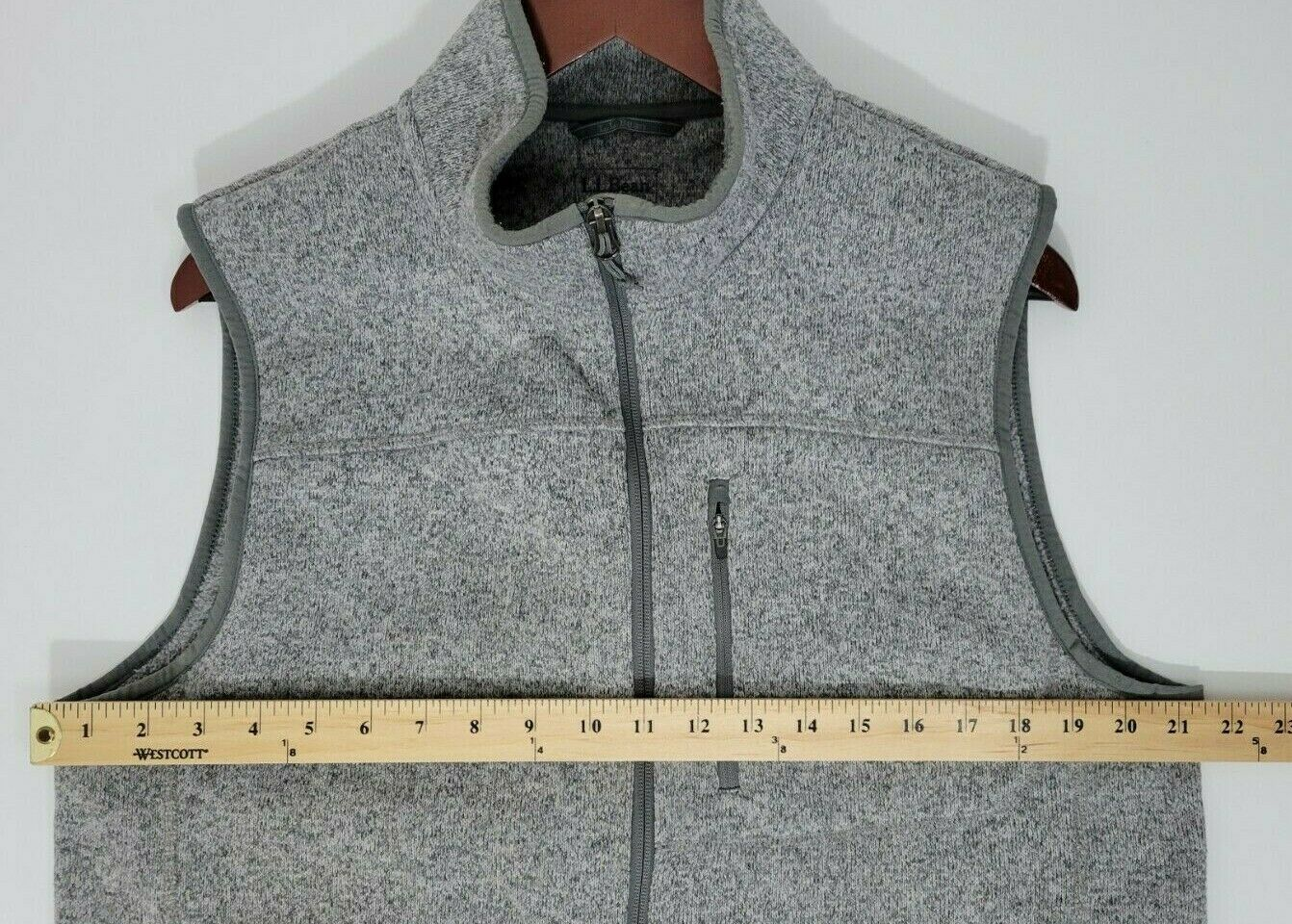 L.L. BEAN Sweater Vest Slightly Fitted Gray Heath… - image 5