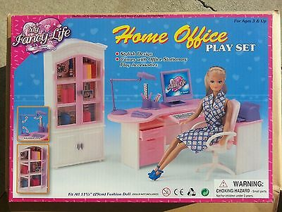 GLORIA FURNITURE DOLLHOUSE HOME OFFICE Shelf + Desk + Chair PLAYSET FOR BARBIE
