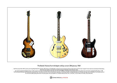 The Beatles' Guitars from the Apple rooftop Ltd Edition Fine Art Print A3 size