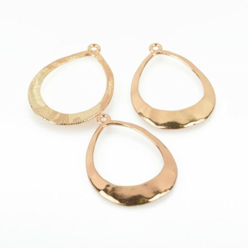 5 Gold Hammered Teardrop Charms 50mm chs4912