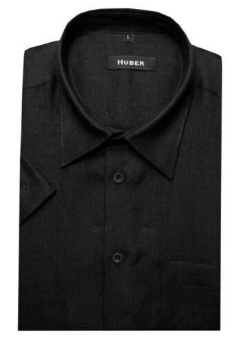 Huber di Qualità Lino Camicia Nero Manica corta Made in EU hu-0102 Regular