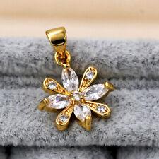 Clear Zircon Clover Gemstone Leaves Bridal Prom Women Pendant 18k Gold Filled