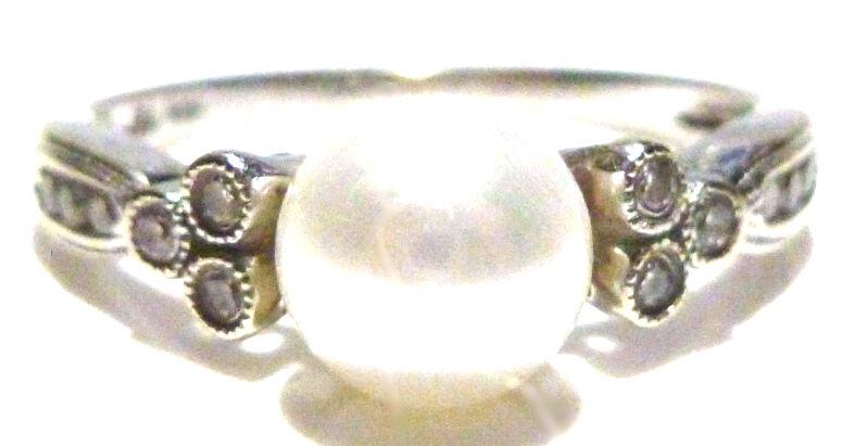 DESIGNER 10K WHITE gold 7mm PEARL & DIAMOND CLASSY CONTEMPORARY RING SIZE 7.25