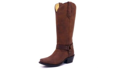 CORRAL Womens Tall Brown Harness Square Toe Leather Zipper Boots G1186 NIB Size