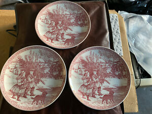 Set-Of-3-Spode-Blue-Room-Collection-Christmas-No-1-Red-Plate-8-1-4-034-Dia-Tree