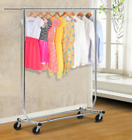Chrome Heavy Duty Clothing Garment Rolling Collapsible Rack Hanger, Chrome